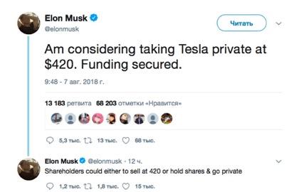 Маск объявил о выкупе акций Tesla по цене выше рыночной